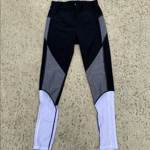 Black, white, and gray leggings with mesh